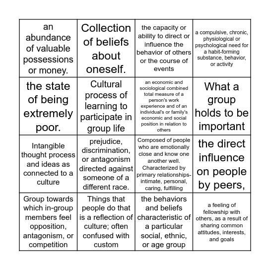 Sociology Vocab Bingo Card