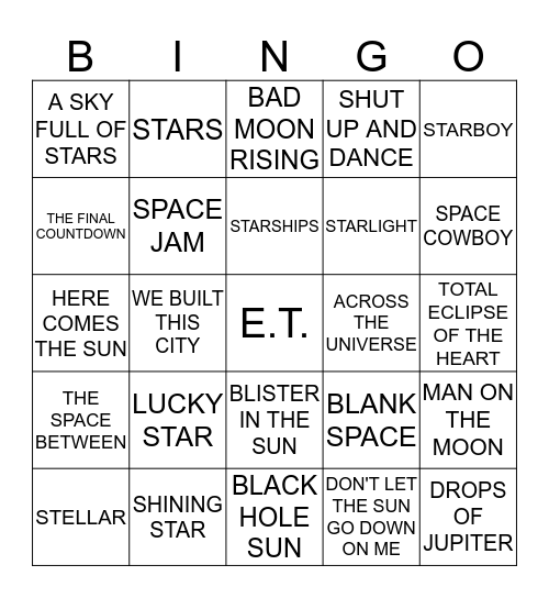 OUT OF THIS WORLD Bingo Card