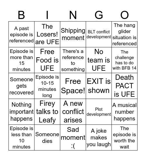 BFB 15 Bingo Card