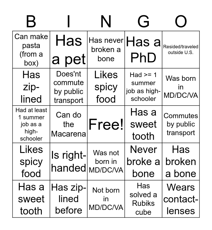 OPARM Bingo: Find one person for each square to get BINGO! You may only list each person once. Bingo Card