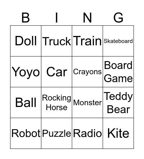 Toys Bingo Card