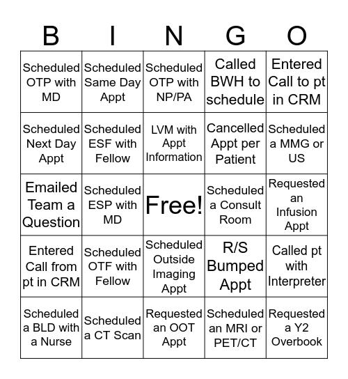 Est Pt Scheduling Bingo Card
