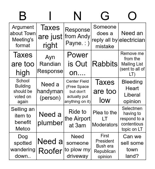 Lincoln Talk Bingo Card