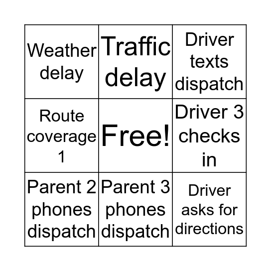 Good Morning Dispatch! Bingo Card