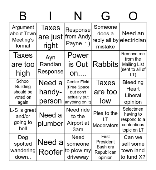 Lincoln Talk Bingo Card