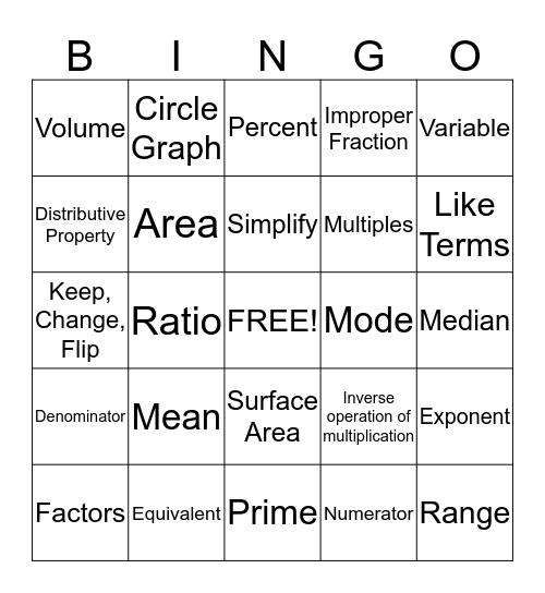 MCAS Vocab Bingo Card