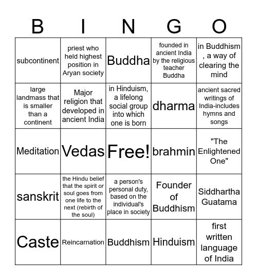 India  Bingo Card