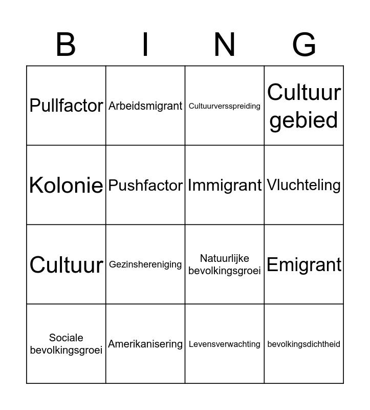 Begrippen H2 Bingo Card