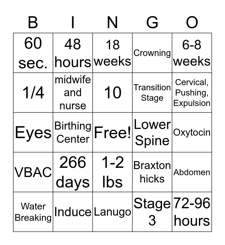 Finals Review! Bingo Card