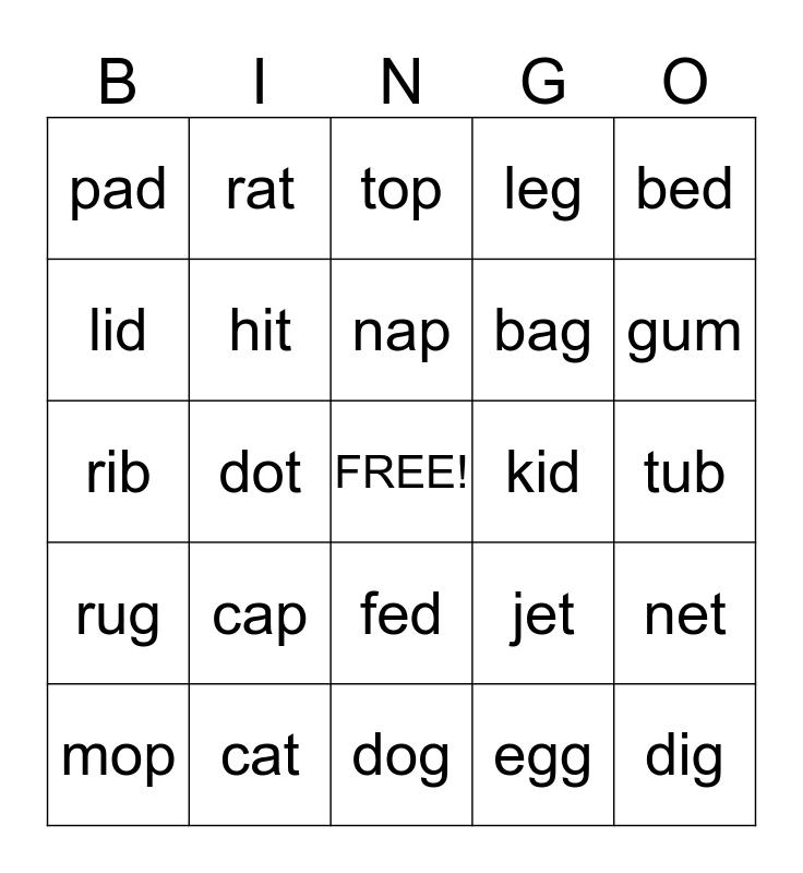 SHORT VOWEL CVC WORDS Bingo Card