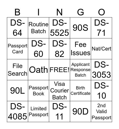 Team Training Bingo Card