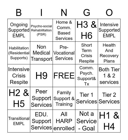 HCBS BINGO Card