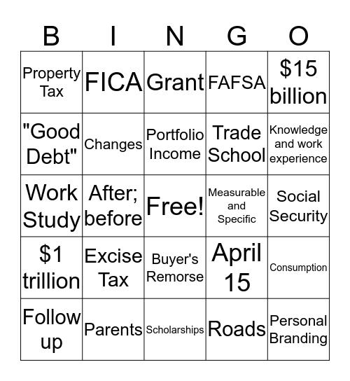 Personal FinANCE Bingo Card