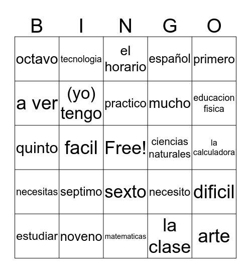 Spanish 1 Chapter 2A Vocabulary Bingo Card