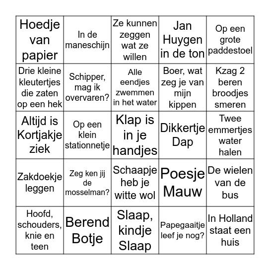 BINGO KINDERLIEDJES Bingo Card