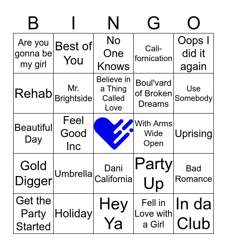 00s Music Bingo Card