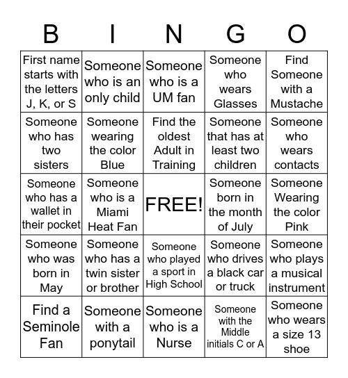 Kailyn's Scavenger Hunt  Bingo Card