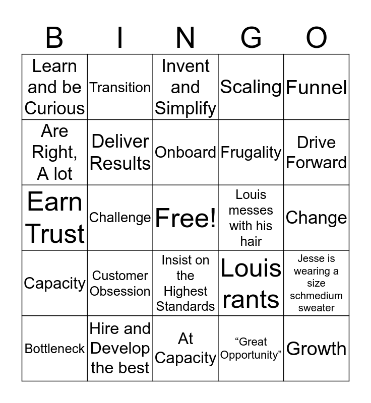 BTS Buzzword Bingo Card