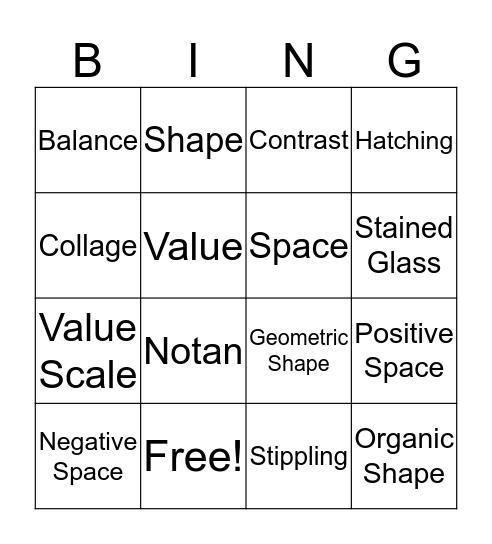 Art 1 Midterm Review Bingo Card