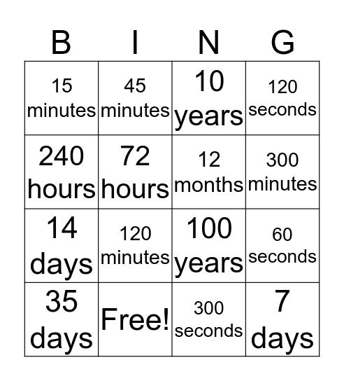 Bingo Time Bingo Card