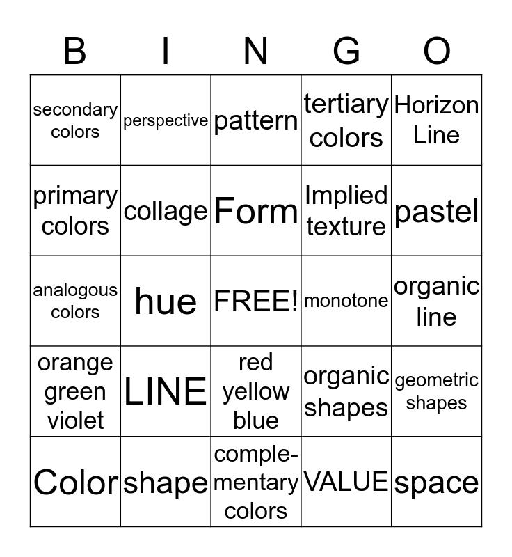 ART ELEMENTS   Bingo Card
