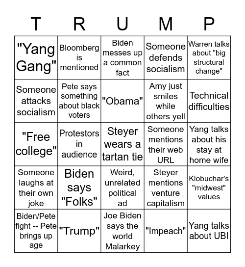 December Debate 2020 Bingo Card