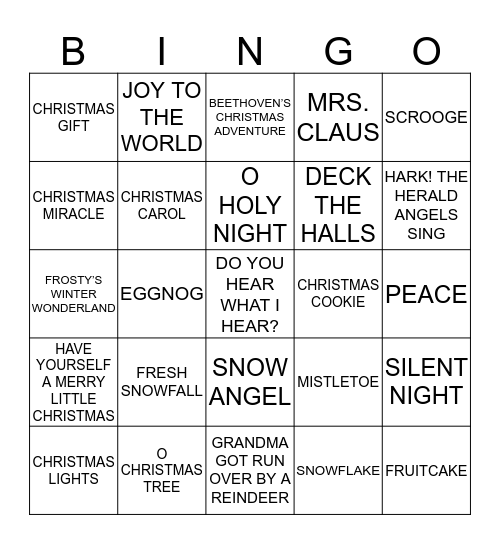 CHRISTMAS 2019 Bingo Card