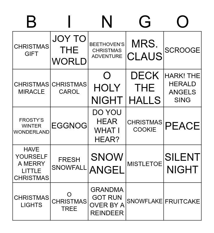 CHRISTMAS 2019 Bingo Card