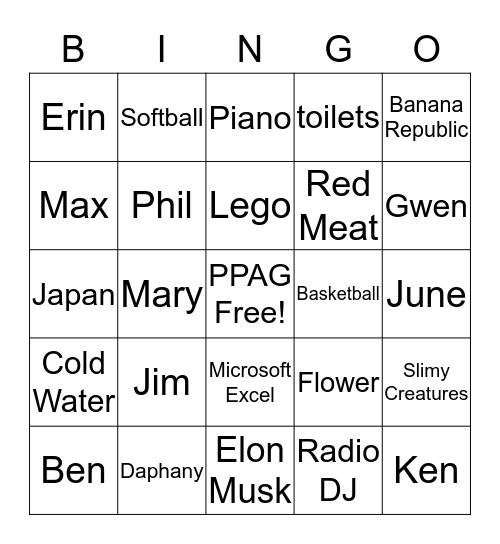 PPAG Bingo Card
