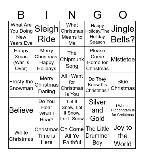 Christmas Bingo #1 Bingo Card