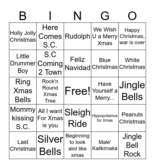 Byrd office Xmas Music Bingo 2.0 Bingo Card