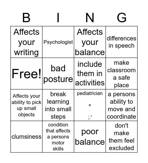 dyspraxia bingo  Bingo Card