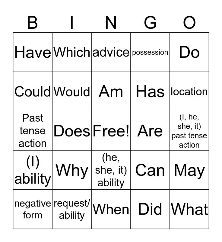 Question Words Bingo Card