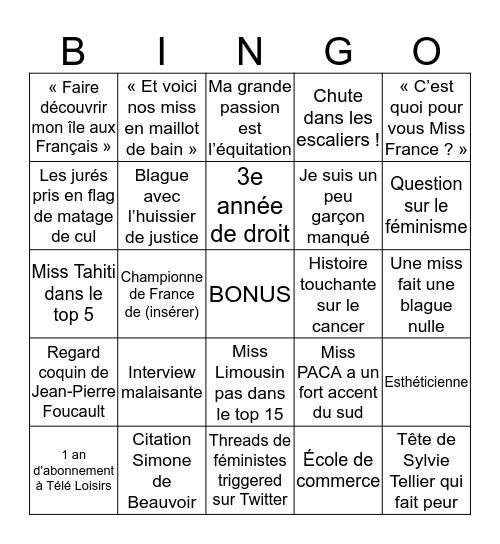 Miss France 2020 Bingo Card