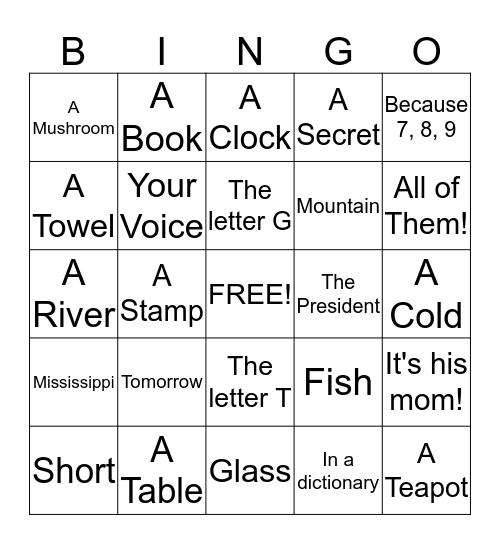 Riddle Bingo Card