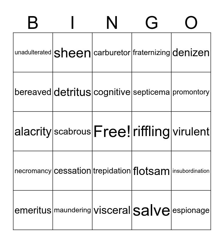 Vocab Bingo Card