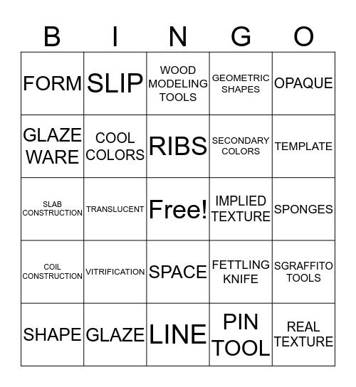 CERAMIC VOCABULARY SEMESTER 1 Bingo Card
