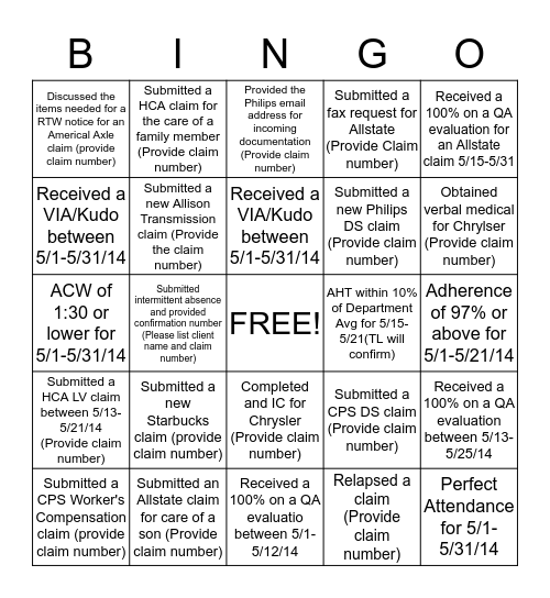 SCR Bingo Card