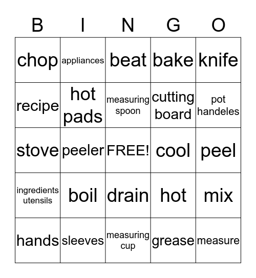 Kitchen Basics and Safety Bingo Card