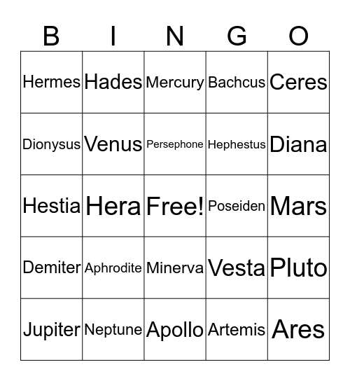 Gods and Goddesses and Others Bingo Card