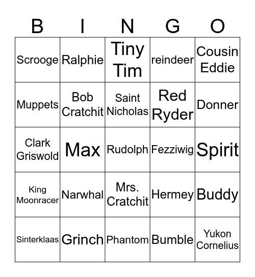Holiday Characters Bingo Card