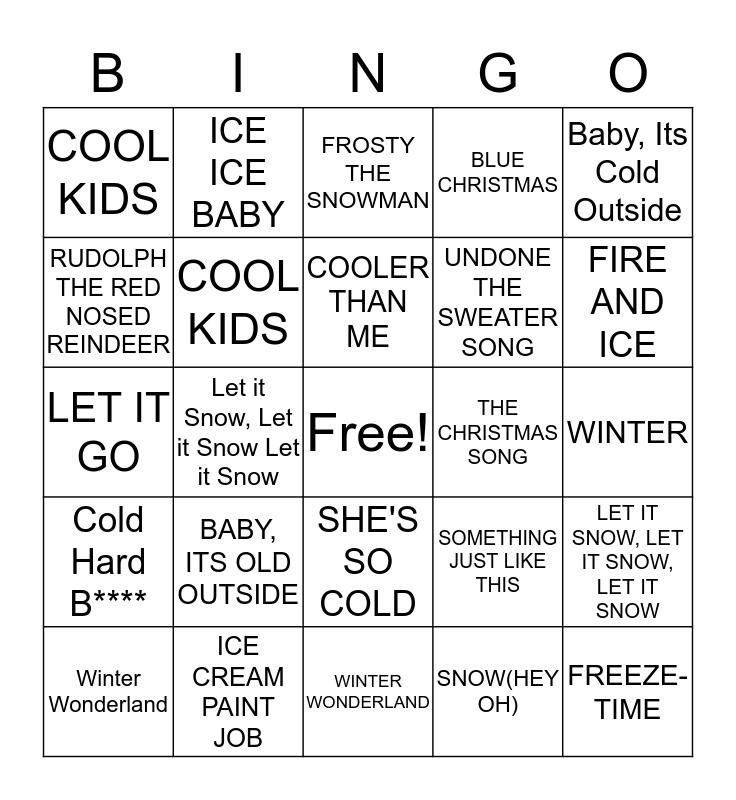 Baby, It's Cold Outside Bingo Card