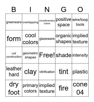 Ceramics Bingo Card