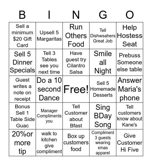 Maria's Bingo Card