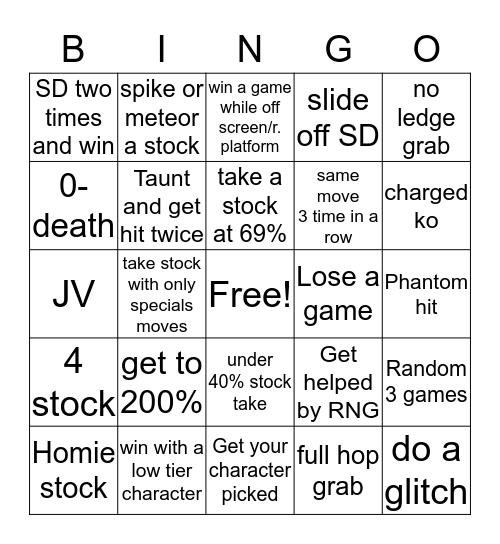 Melee Bingo Card