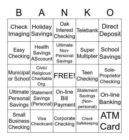 PRODUCT BANKO Bingo Card