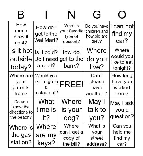 Questions ? Bingo Card