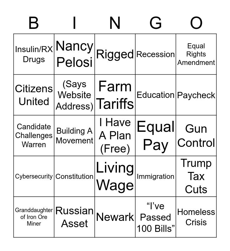 December Debate Bingo Card