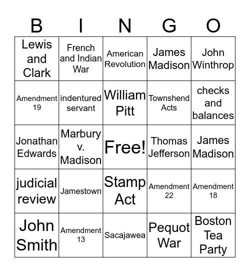 Final 2019 Bingo US History Bingo Card