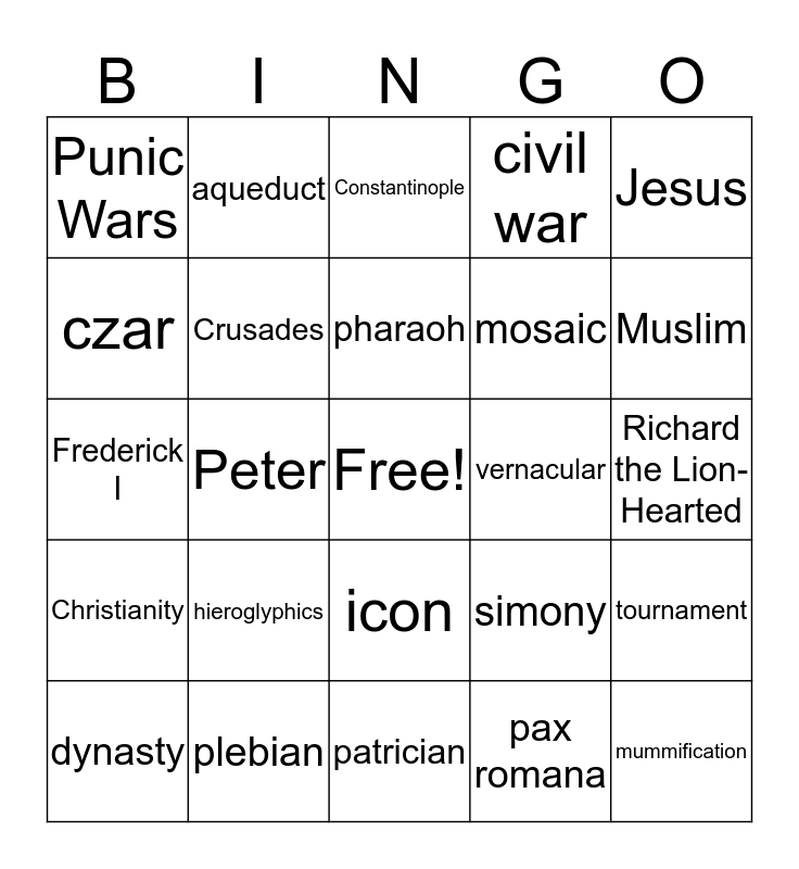 Final 2019 Fall World History Bingo Card
